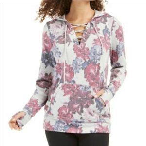 Ideology NWT Gray Floral Lace-up Hoodie